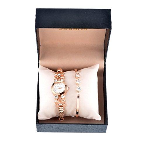 Souarts - Juego de joyería para mujer con pulsera y reloj analógico de cuarzo para muñeca, color oro rosa