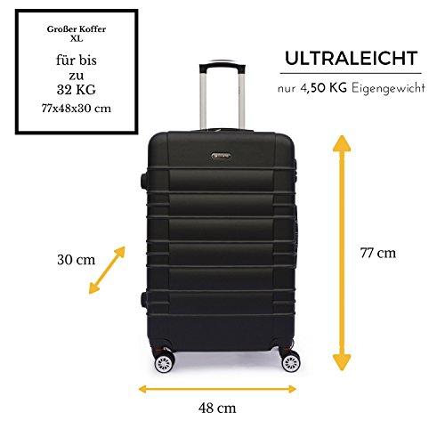 SHAIK SerieCLASSIC JFK Design Hartschalen Trolley, Koffer, Reisekoffer 4 Doppelrollen Zwillingsrollen, Zahlenschloss (Großer Koffer, Schwarz) - 2