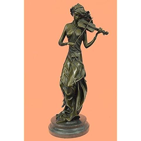 Statua di bronzo Scultura...Spedizione Gratuita...Female musicale Violin Player Art Nouveau Hot Fusioni(YRD-556-EU)Statue Figurine Figurine Nude per ufficio e casa Décor Primo Giorno Collezionismo Ar