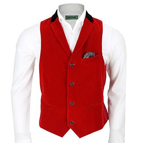 Uomo velluto marrone vintage 3tuta giacca gilet pantaloni venduto separatamente Waistcoat-Collar-Red