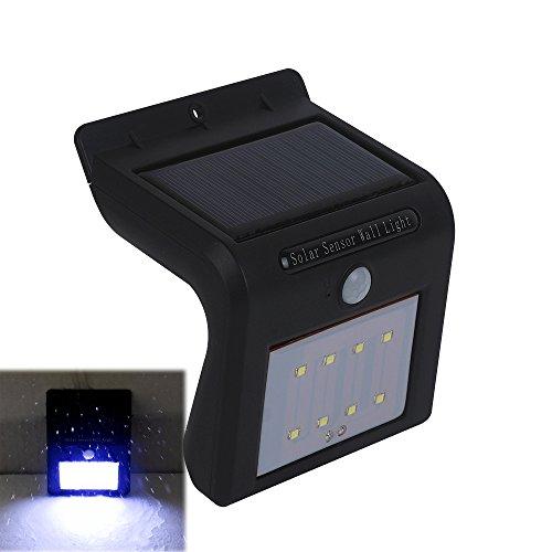 Solarleuchten 8 LED mit Bewegungsmelder Kaltweiß, MIRI Sicherheitslicht Solar Sensor lampe, Wasserdichte Außenbeleuchtung Wandleuchte Nachtlicht für Garten, Patio, Terrasse, Hof