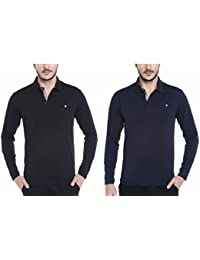 [Sponsored]Dream Of Glory Inc. Men's Branded Full Sleeve Vintage Metallic Half-Zip Cotton Polo Tshirts In 3 Colours And Plus...