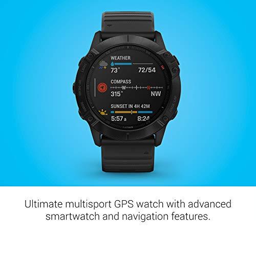Garmin Fenix 6X Pro - Reloj inteligente con GPS para outdoor, color negro con correa negra