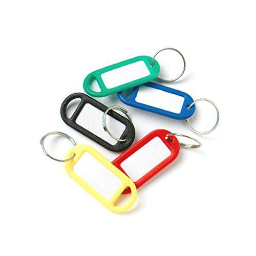 Hemore 30 farbige Plastik Schlüssel Fobs Gepäck-ID-Tags Etiketten Schlüsselanhänger mit Namenskarten
