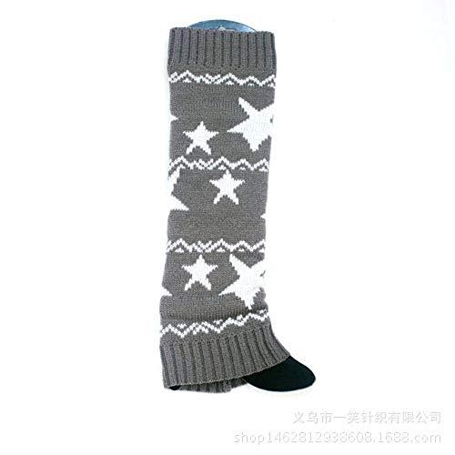 Sterne Drucken Warme GehäKelt Stricken Stulpen LegWarmer Kniehohe Stiefel Socken Stulpen StrüMpfe FüR Frauen MäDchen (Grau) ()