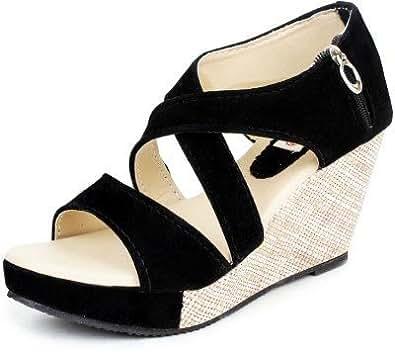 Kanchan Women's Black Velvet Fashion Sandal-Indian 3/Eu 36
