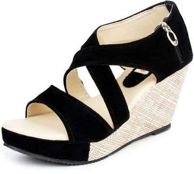 Kanchan Women's Heel Delux Zip Black Sandal (Indian 7/Eu 40)