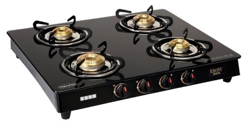 Usha Ebony Gas Stove (Gs4 001) Cooktop with 4 Burner (Black)