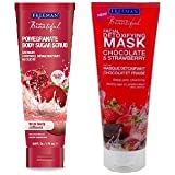 Freeman Facial Set (Pomegranate Body Sugar Scrub & Chocolate & Strawberry Facial Clay Mask) with Ayur Product in Combo