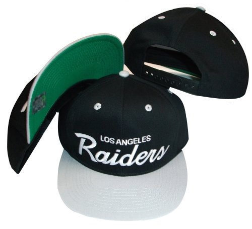 Reebok Los Angeles Raiders Schwarz/Silber Zwei Ton Kunststoff Snapback Verstellbar Kunststoff Snap Back Hat/Cap -