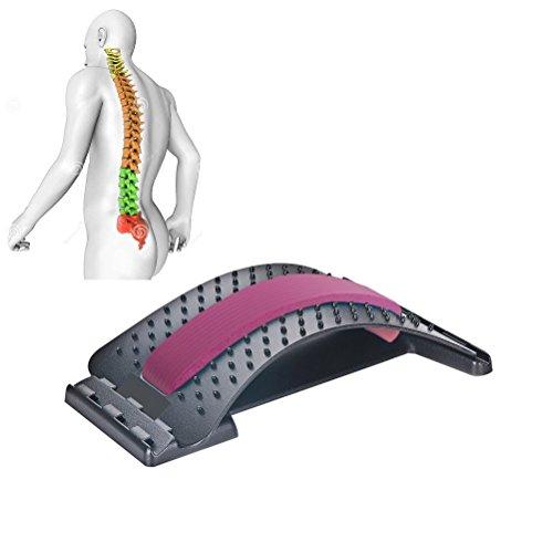 JIAL-SMEIL Masajeadores de Espalda para enderezar la Espalda y Las lumbares, Dispositivo de Estiramiento Lumbar,Alivio de Dolor de Espalda ciática,Hernias discales ([Panel Negro] - Rosa roja)