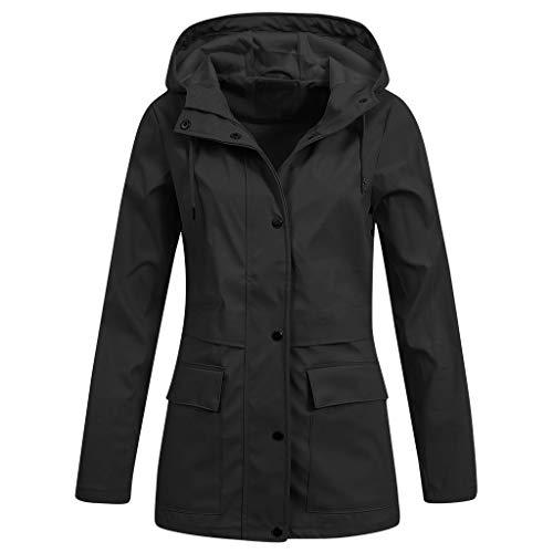 ng Herbst Bequem Mantel Lässig Mode Jacke Frauen Feste Regenjacke im Freien Plus wasserdichter mit Kapuze Regenmantel Winddicht(Schwarz-3, L) ()
