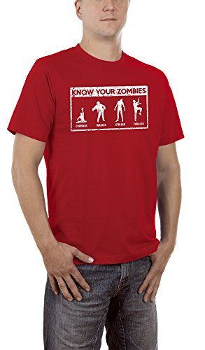 Touchlines Herren T-Shirt Know Your Zombies, Rot (Red 08), XXX-Large