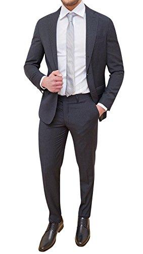 Abito completo uomo sartoriale grigio a righe elegante cerimonia (46) eed82b0db1b