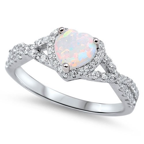Damen-Ring / Verlobungsring /Ehering - 925 Sterlingsilber Weiß Opal Ring Zirkonia Herz