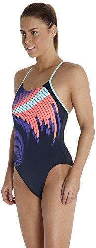 Speedo Damen Badeanzug Placement Rippleback Print 5 Navy/Violet