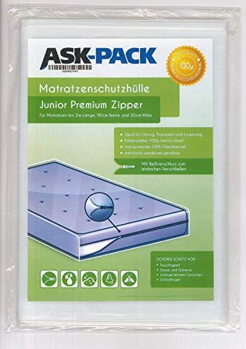 ASK Pack Premium Matratzenschutzhülle Junior mit REIßVERSCHLUSS für 90cm breite/bis 30cm hohe / 200cm Lange Matratze - Extra Stark 100µ