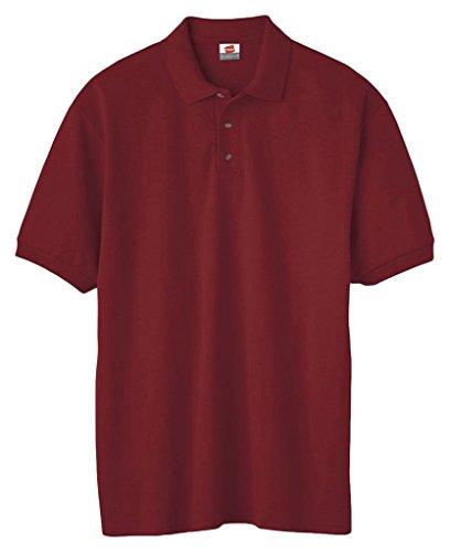 Hanes Herren Baumwolle Poly Welt Kragen und Manschetten Short Sleeve Pique Polo Shirt Scharlachrot