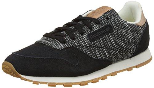 Reebok Cl Leather Ebk, Chaussures de Running Mixte Enfant Multicolore - Noir/gris/grès (Black / Stark Grey / Sand Stone-Gum)
