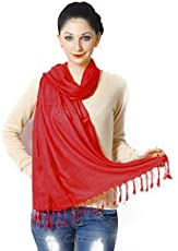 SCARF FACTORY Dark RED PASHMINA AT MANUFACTURING COST Size (28W X 72L inches) SUPER SALE IS ON FEW PCS LEFT