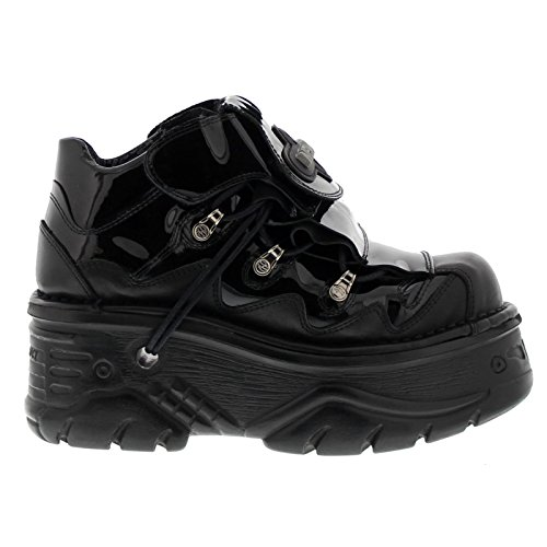 New Rock Womens M1075 C25 Turbo Leather Shoes Noir