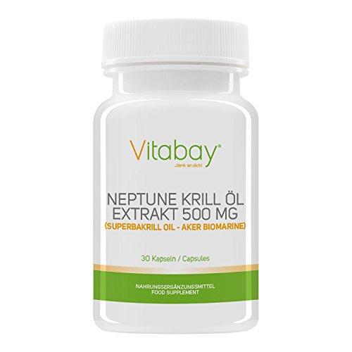 Vitabay Neptune Krill Öl 500 mg - Reich an Omega-3 Fettsäuren - 30 Softgels -