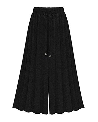 Damen Lose Weites Bein Hose Elastische Taille Hosenrock Capri Hose Freizeithose Große Größe Schwarz 7 5XL