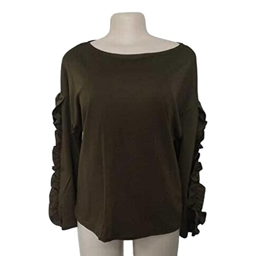 DOLDOA Femmes Loisirs Couleur unie Coutures Manches longues Veste en vracT-shirt Armée Verte