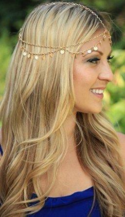 UChic 1 STÜCKE Kopf Kette Gold Indischen Stil Haar Pendent Mode Welle Kette Quaste Kopfschmuck Super Shiny Haarband