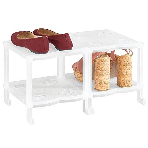 MDesign Mueble zapatero - Zapatero pequeño con cuatro baldas para sandalias, botines y botas - Organizador...