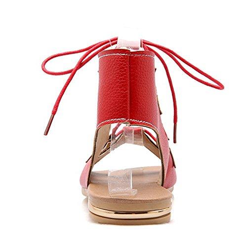 AllhqFashion Damen Weiches Material Rein Schnüren Offener Zehe Niedriger Absatz Sandalen Rot