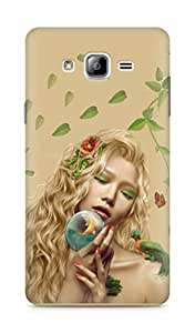 Amez designer printed 3d premium high quality back case cover for Samsung Galaxy ON7 (Girl mysterious leaves parrots dryad)