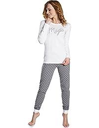Italian Fashion IF Pijamas Conjunto Camisetas y Pantalones Ropa de Dormir Mujer IF180002
