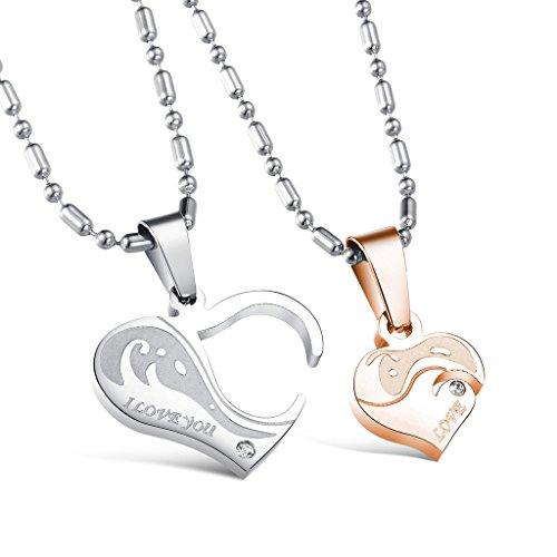 Jewow Bijoux paire acier inoxydable graver promesse collier en forme de coeur pour couple Amoureux