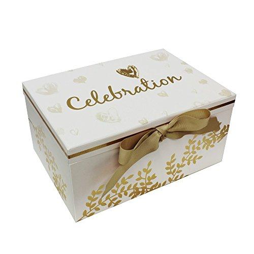 JVL Celebration Special Speicher Andenken Speicher Geschenk-Box, weiß/Gold, Gold/weiß, 28x 20x H14cm