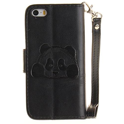 Pheant® Apple iPhone SE/5S/5 Coque Rouge Étui à Rabat Pochette en Cuir PU Cover Gel Housse de Protection avec Fonction de Support et Fermeture Magnétique Panda Motif de daufrage Noir