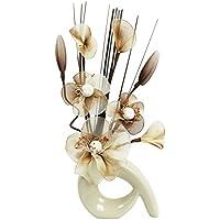 793456 32 cm Motif Flourish Vase avec Mini fleur artificielle exemple, café/crème