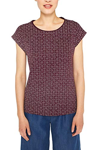 ESPRIT Damen 059EE1K044 T-Shirt, Rot (Bordeaux Red 600), Small (Herstellergröße: S)