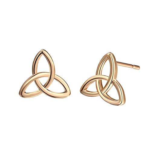 Gold Plated Simple Tiny Triangle Trinity Celtic Knot Stud for Women ()