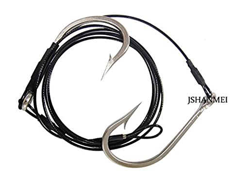 JSHANMEI ® Twin Big Game Shark Hooks 7691 Rig Stainless Steel Jig Hooks Shark Rigs Cable Leader Saltwater Sea Fishing Big Game Tackle