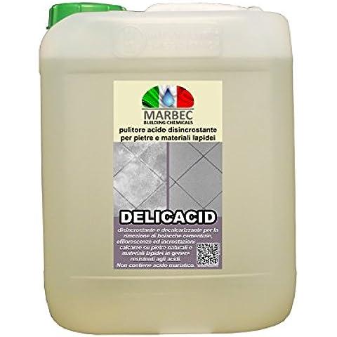 MARBEC - DELICACID 5LT Detergente disincrostante decalcarizzante per pietre e materiali lapidei - 6 Spazzola Di Arte