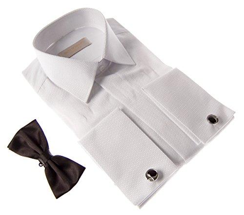 Designer Smokinghemd + Fliege + Manschettenknöpfe Slim Fit Herren Smoking Hemd Schwarz Weiß Beige Weiß