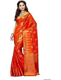 Mimosa Women's Silk Saree With Blouse Piece (166-Org,Orange,Free Size)