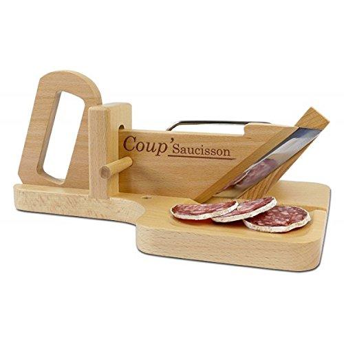 Affetta-salame a ghigliottina, ideale per l'aperitivo, in legno di faggio, con lama in acciaio temprato e dentellato, colore: naturale faggio