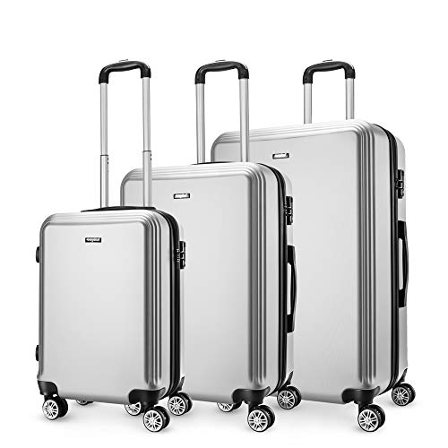 Cabin Luggage Silver Set of 3, Super Lightweight ABS Hard Shell Travel Carry On Trolley 4 Wheels Suitcase, Approved for EasyJet, British Airways, Virgin Atlantic, KLM and Many More.