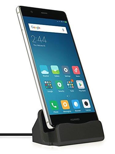 MyGadget USB C Dockingstation Dock Ladegerät Halterung Ladestation für u.a. Smartphone Samsung Galaxy A3 , A5 , S8 / Huawei / HTC / Lumia 950 in Schwarz