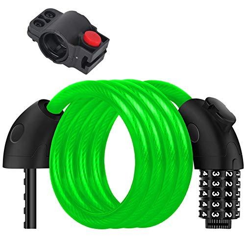 Stahl Kabel Fahrradschloss Mit Montagehalterung, Curly Zahlenschloss, 5-stellige Rücksetzbar Kombination Anti-diebstahl Tool - 12 Mm Durchmesser -grün 150cm(59inch) -