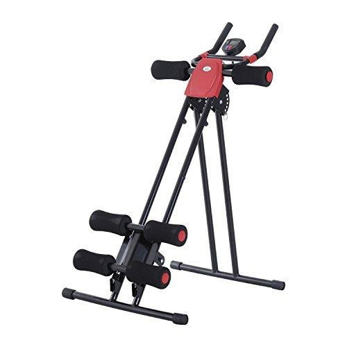 Homcom Máquina de Abdominales Plegable Aparato de Musculación Fitness Entrenamiento Pantalla LCD