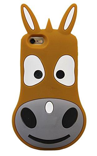 Donkey Cheval poney Cartoon Animal forme 3D du caoutchouc de silicone gel Nouveau cas couvrir pour Apple iPhone 5, 5s, 5c (Brown) © Sloth Cases marron