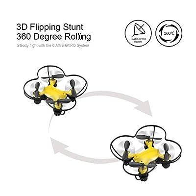 Virhuck Volar-360 RC Nano Drone Quadcopter, 2.4 GHz / 4.5 CH / 6 AXIS GYRO System, Multicolor LED Lights, Headless / One Key Return Mode Mini Drone - Blue, Green, Yellow, Orange